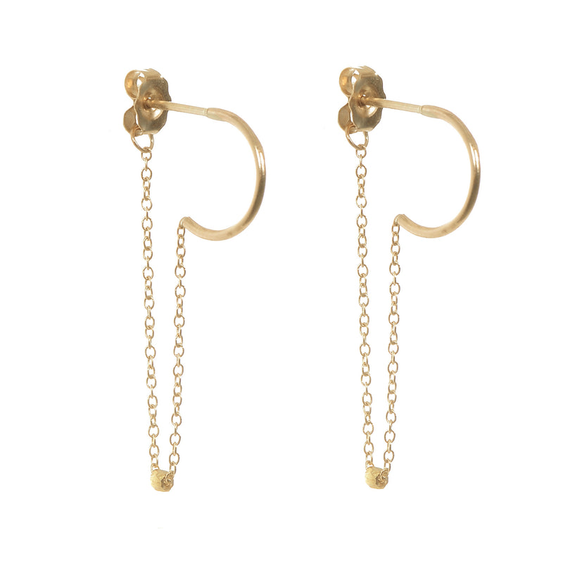 Half Hoop Chain Earrings in Gold
