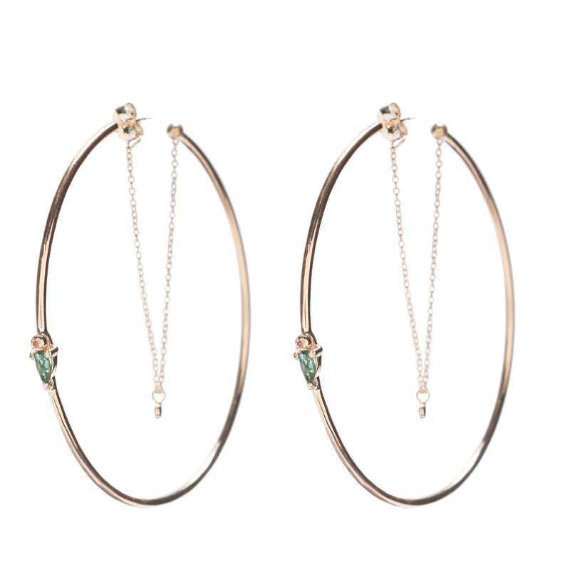 CHAIN DROP HOOPS IN GOLD