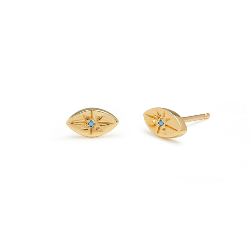 A Tiny Evil Eye Stud in Gold