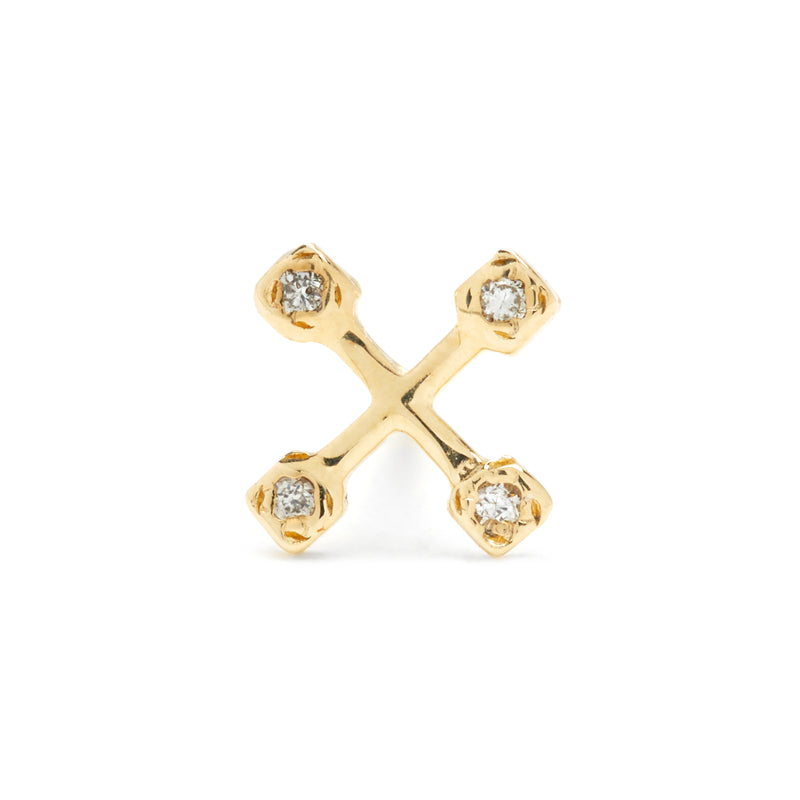 Tiny Suncatcher Studs in Gold with Diamonds