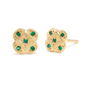 Endless Knot Studs in Gold with Emeralds