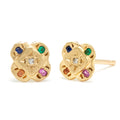 Endless Knot Studs in Gold with Mixed Stones