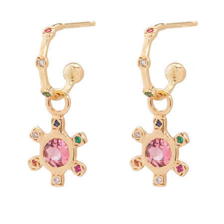 Pinwheel Earring with Pink Sapphire