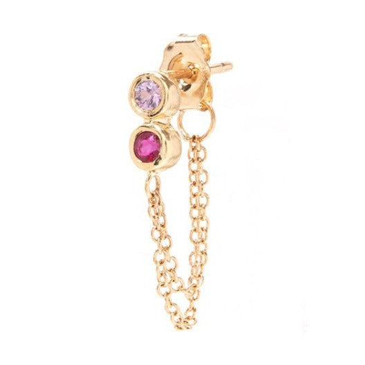 Infinity Stud Chain Drop with Ruby and Pink Sapphire