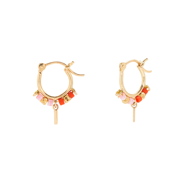 Trinket Hoops in Red and Pink