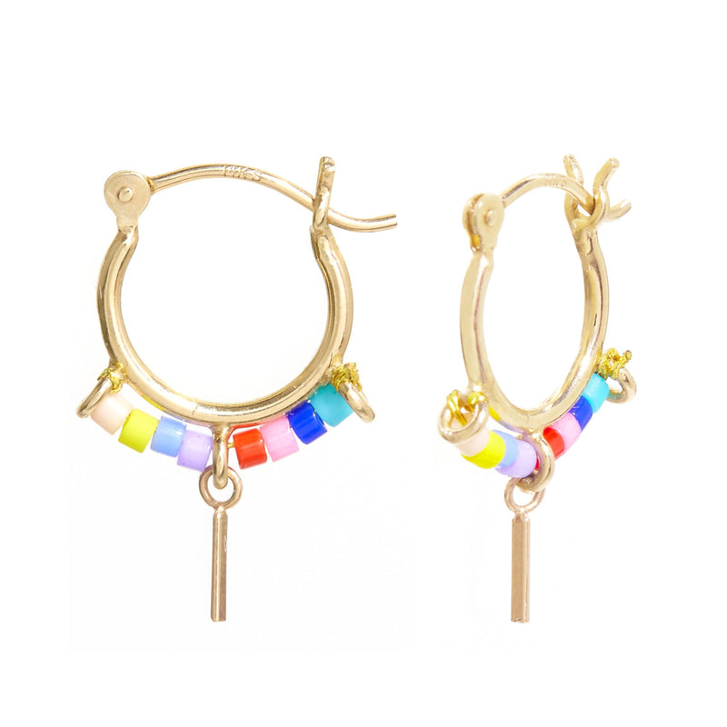 Beaded Trinket Hoops in Rainbow