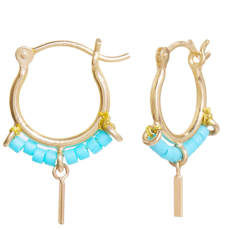 Beaded Trinket Hoops in Turquoise