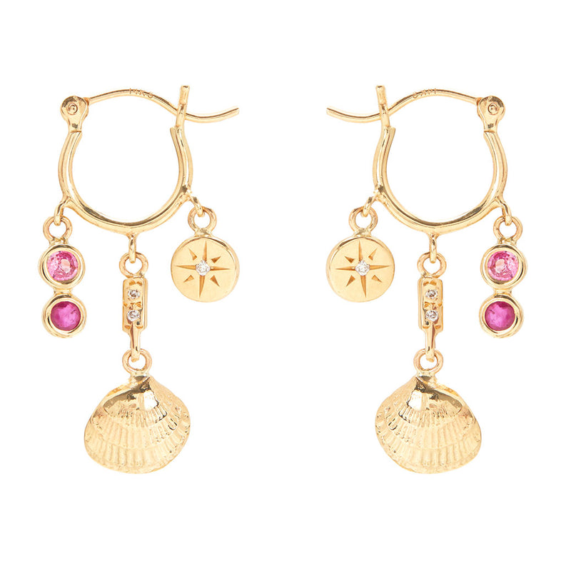 Ocean Treasure Earrings with Pink Sapphire and Ruby