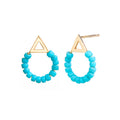 Beaded Balance Studs in Turquoise