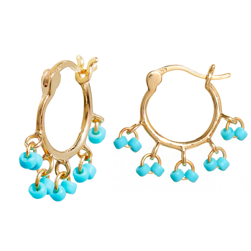 Beaded Cha Cha Hoops with Turquoise
