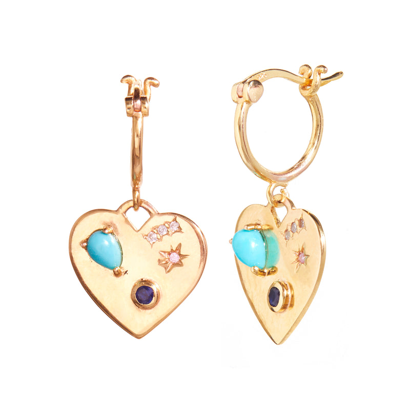 Night Market Heart Hoops in Blue