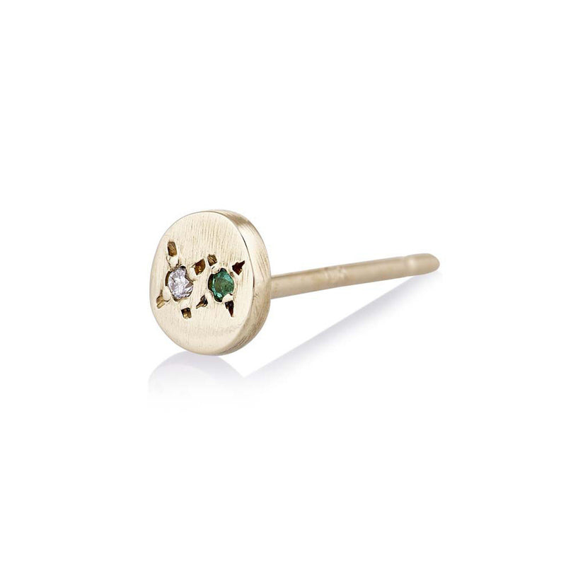 Juxtaposed Emerald Stud