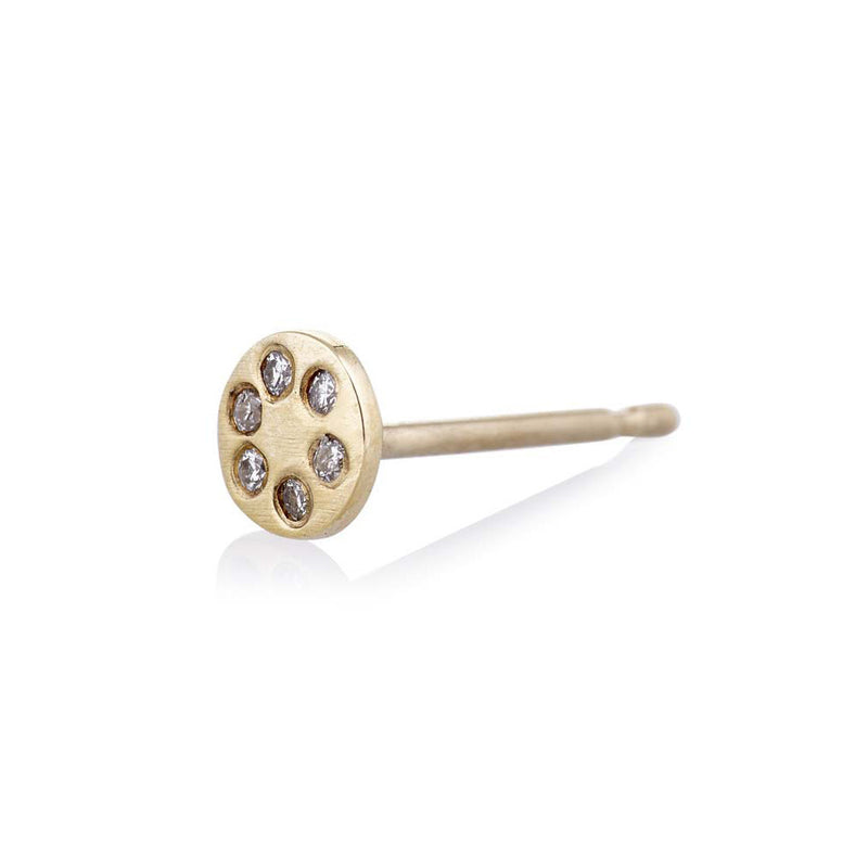 Lolli Stud in Gold with Diamonds