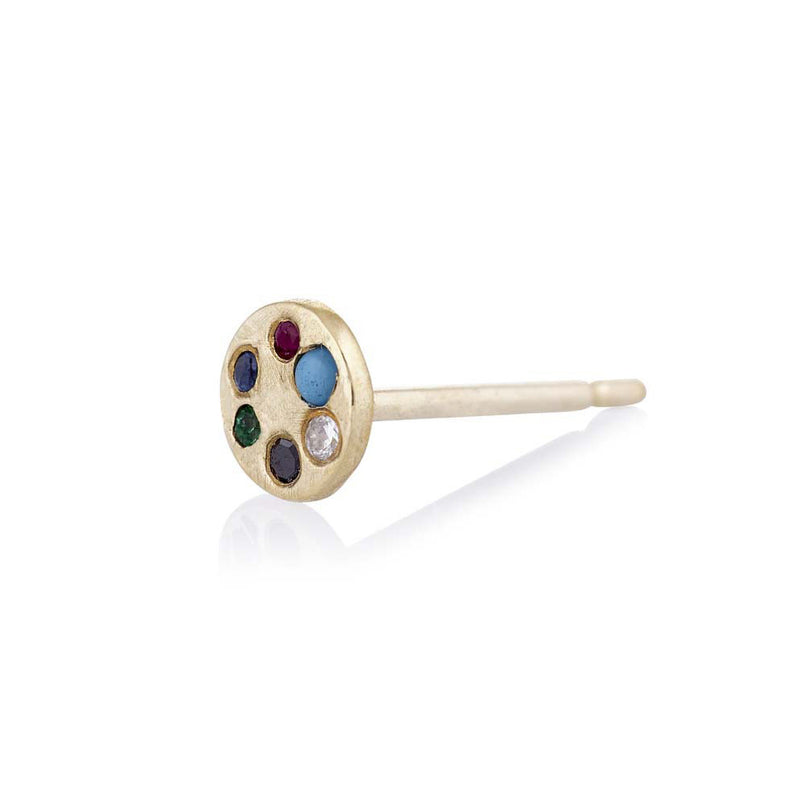 Lolli Stud in Gold with Mixed Stones