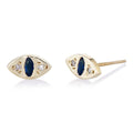 Cat Eye Stud in Gold & Blue Sapphire