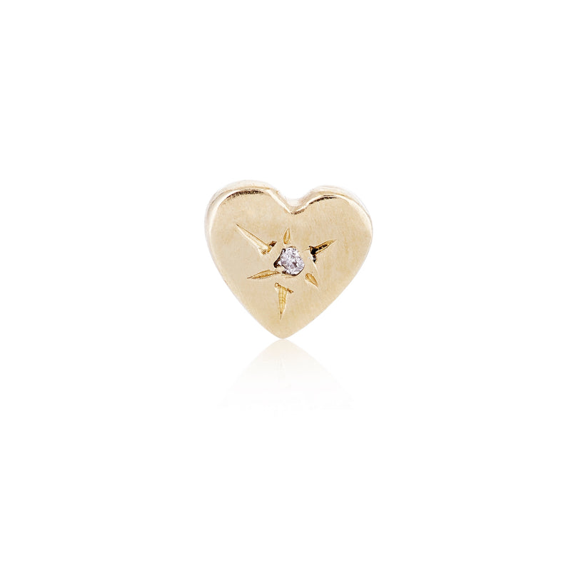 A Tiny Heart Stud in Gold