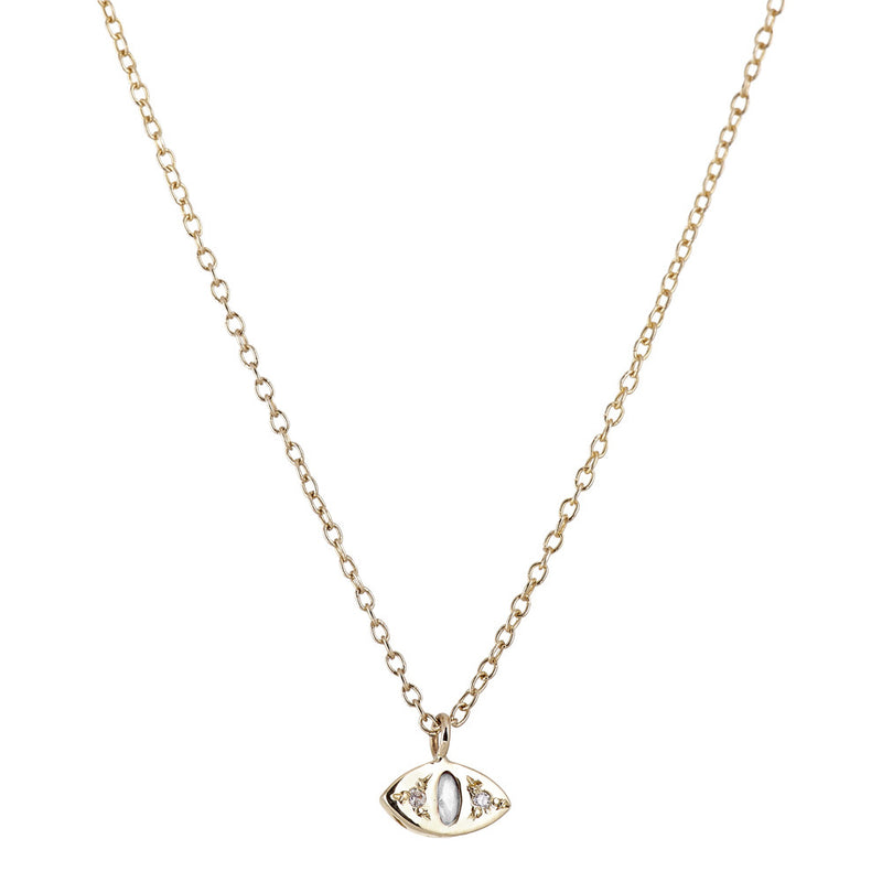 Cat Eye Necklace in Gold with Diamond