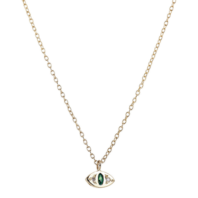 Cat Eye Necklace in Gold with Emerald