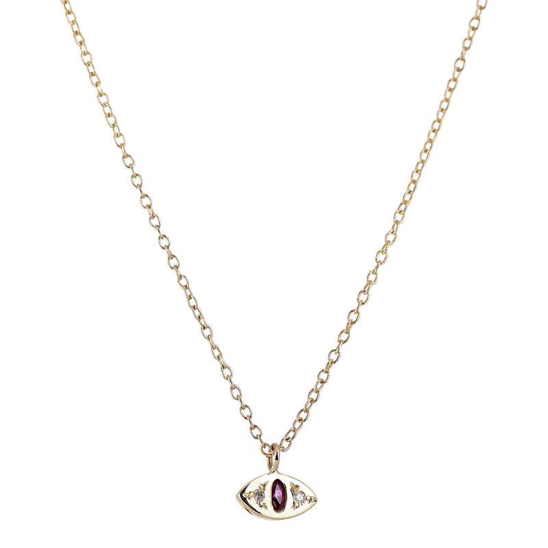 Cat Eye Necklace in Gold with Ruby