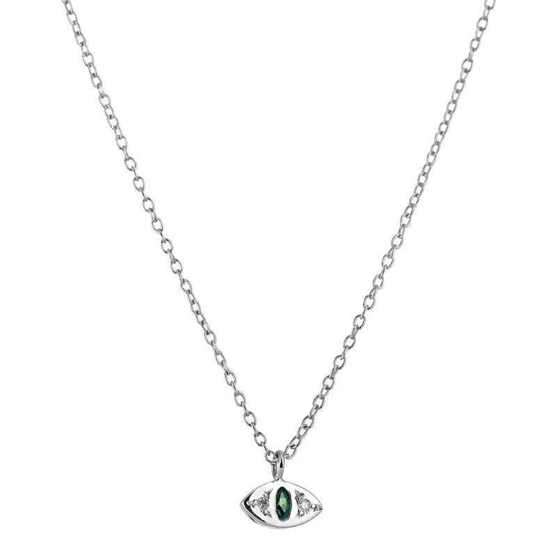 Cat Eye Necklace in Silver with Emerald