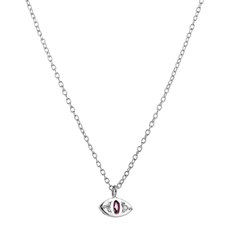 Cat Eye Necklace in Silver with Ruby