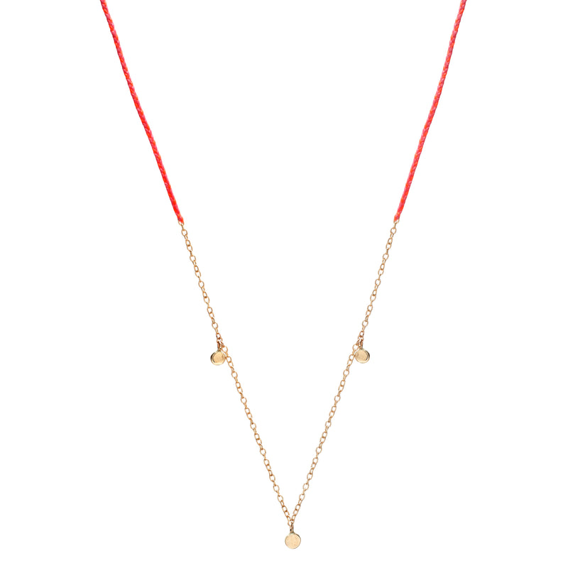Precious Fairy Chain Necklace in Gold with Hot and Neon Pink