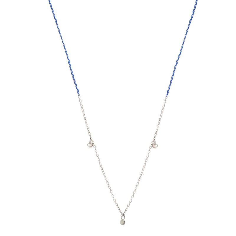 Precious Fairy Chain Necklace in Silver with Royal Blue and White