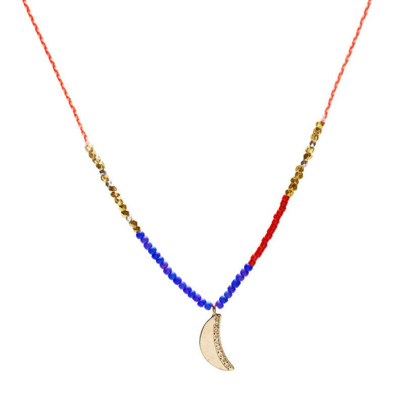 Half Moon Trinket Necklace with Diamonds