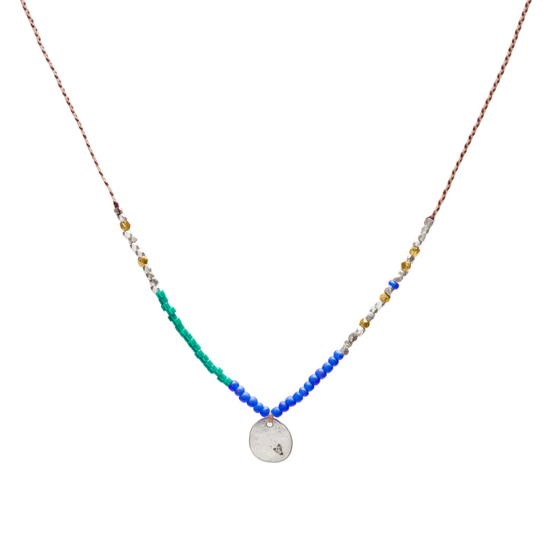 Coin Trinket Necklace in Silver with Diamonds