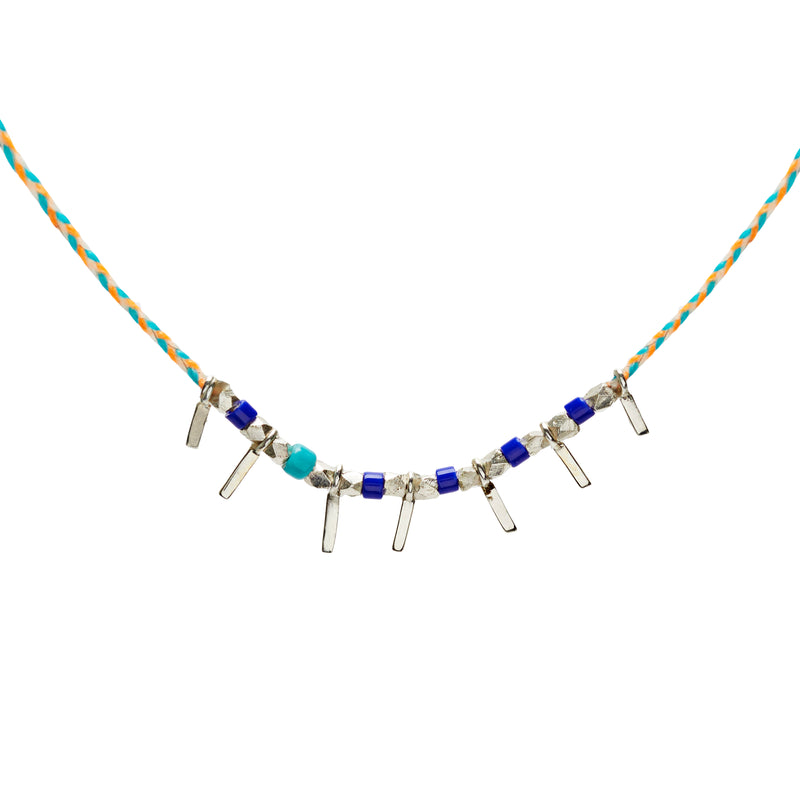 Fairy Tinsel Confetti Necklace in Silver
