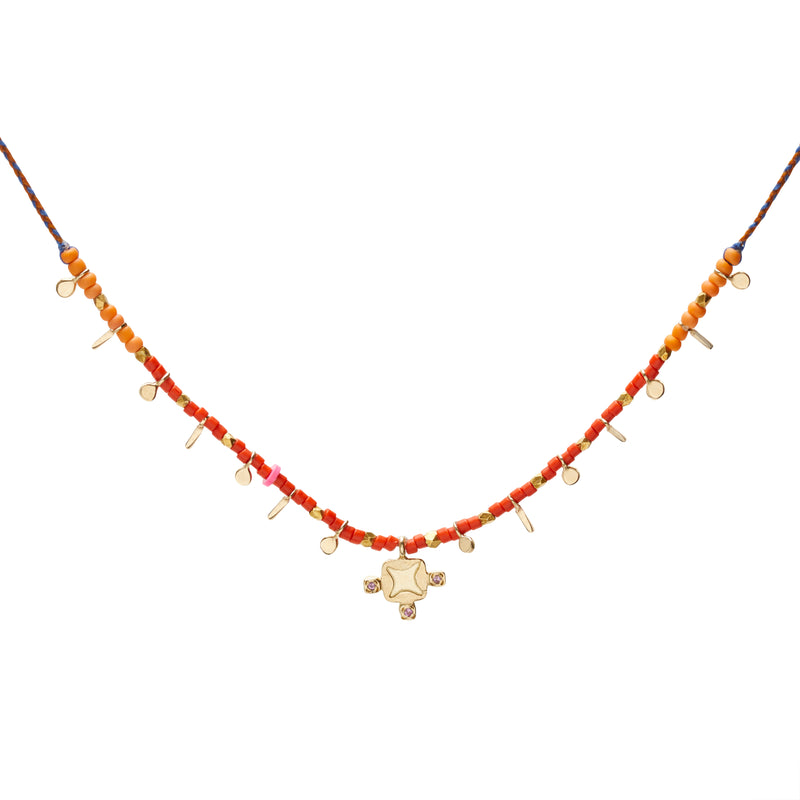 Lotus Flag Necklace in Gold with Pink Sapphire