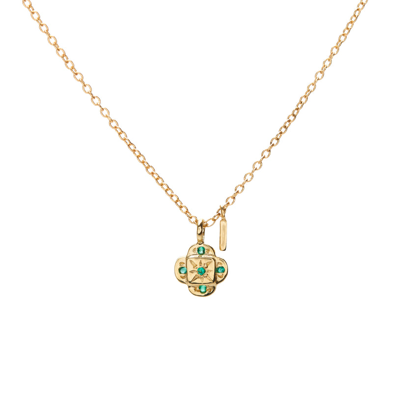 Endless Knot Necklace in Gold with Emerald