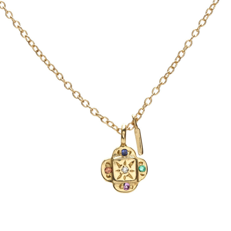 Endless Knot Necklace in Gold with Mixed Stones