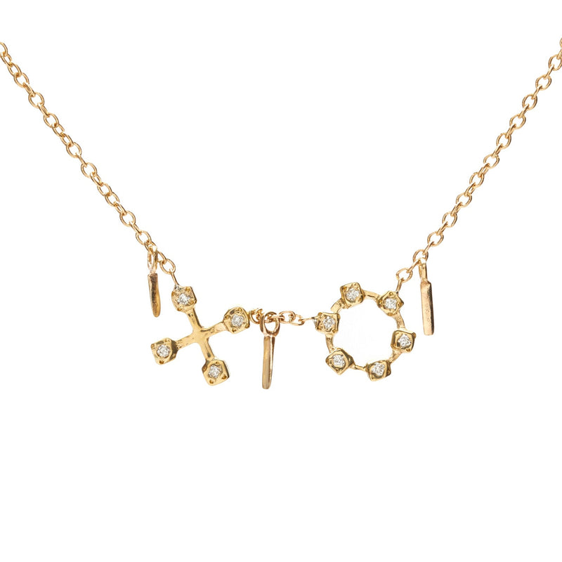 XO Necklace in Gold with Diamonds