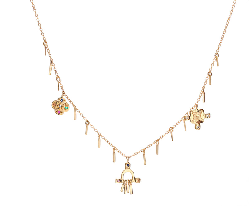 Temple Charms Necklace in Gold with Mixed Stones