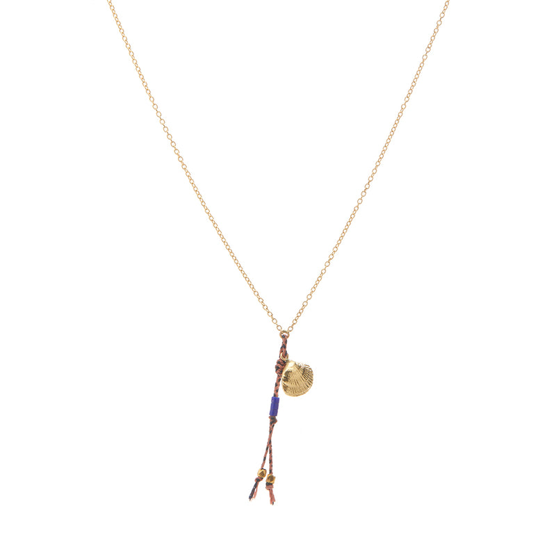 Shell and Tassel Necklace in Gold