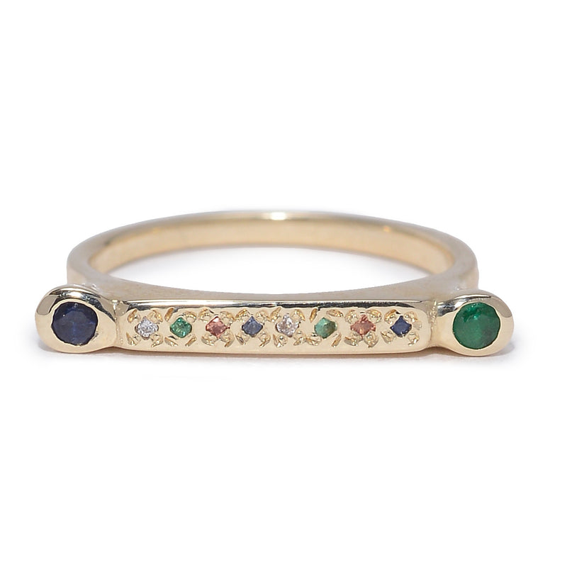 Bar Stack Stone Ring in Gold and Mixed Stones