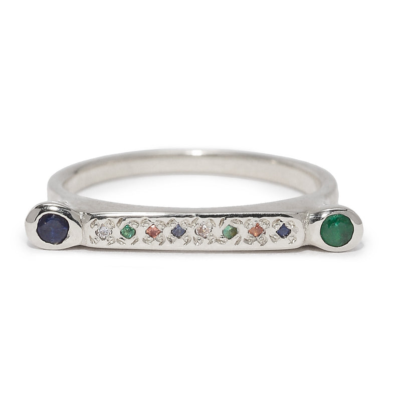 Bar Stack Stone Ring in Silver and Mixed Stones
