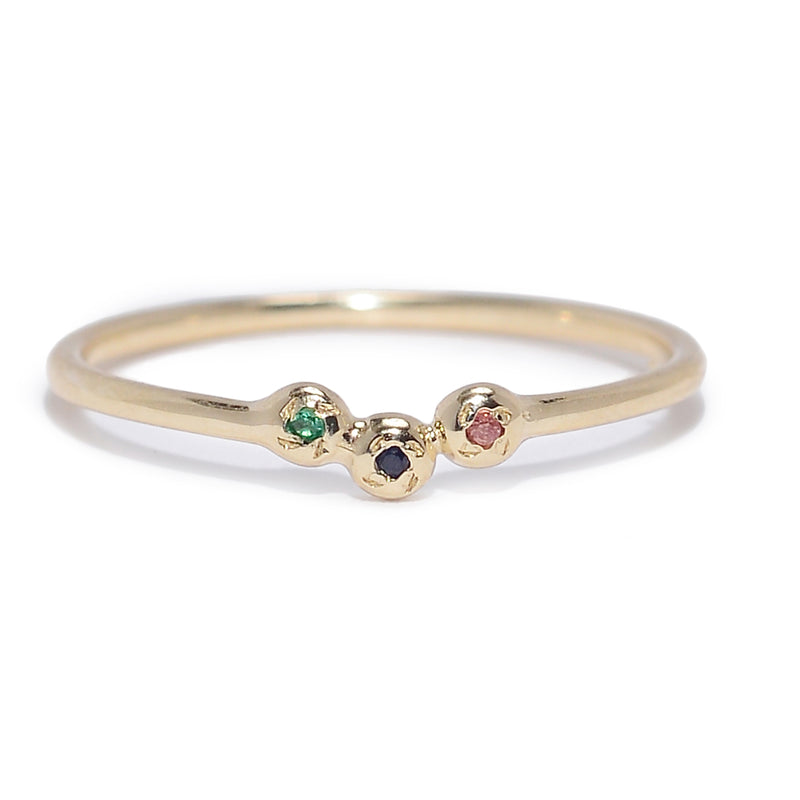 Trio Cluster Ring with Mixed Stones