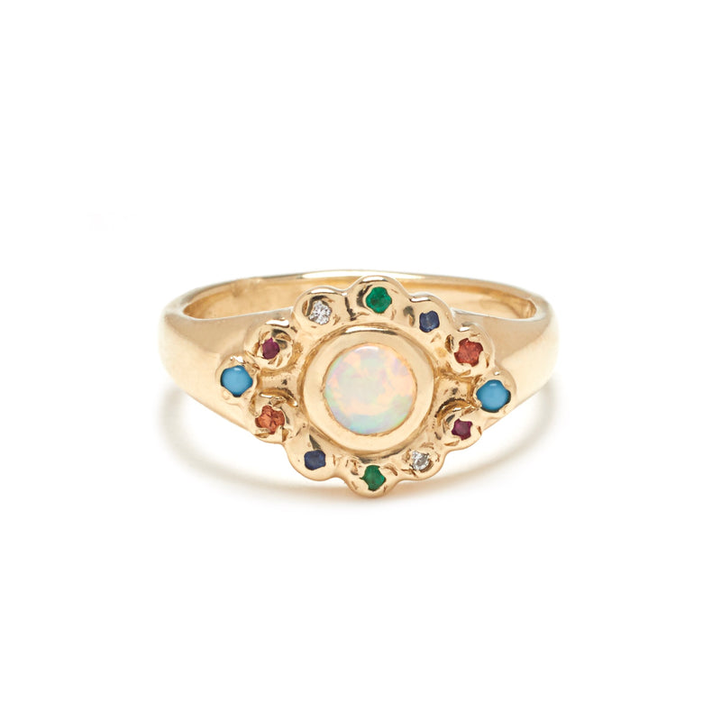 Evil Eye Ring in Gold with Opal and Mixed Stones