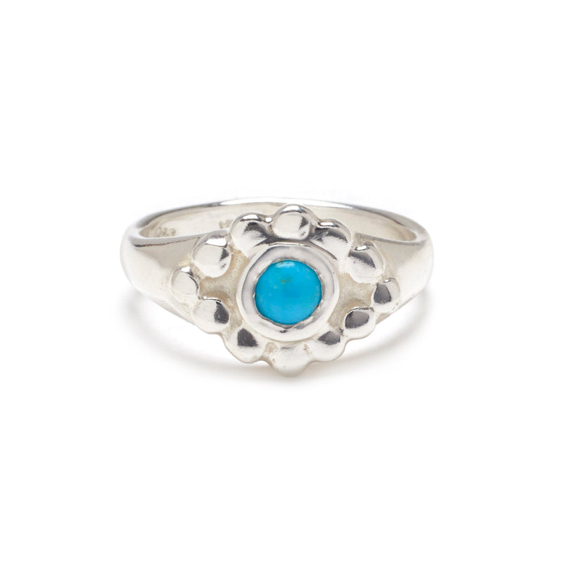 Evil Eye Ring in Silver with Turquoise