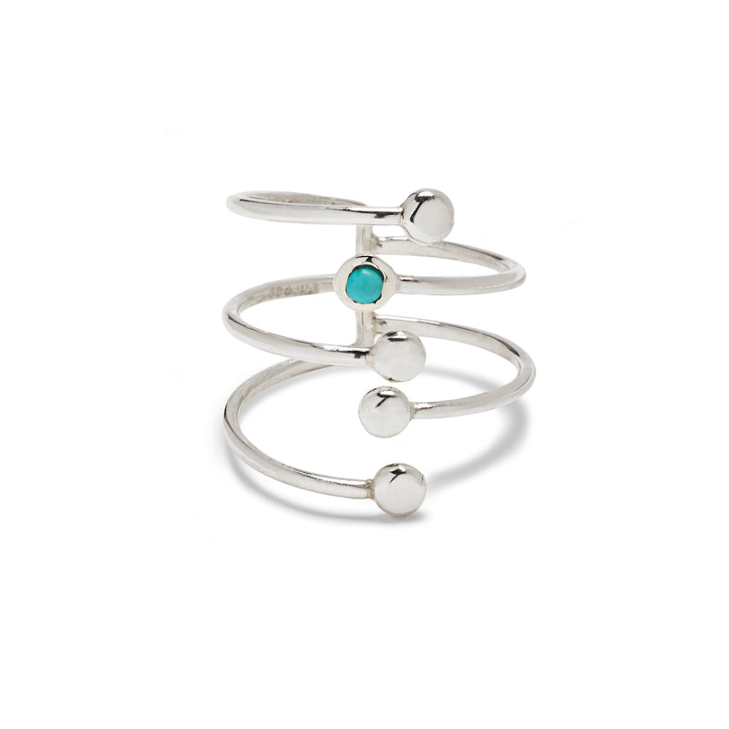 Fairy Bead Bypass Ring in Silver with Turquoise