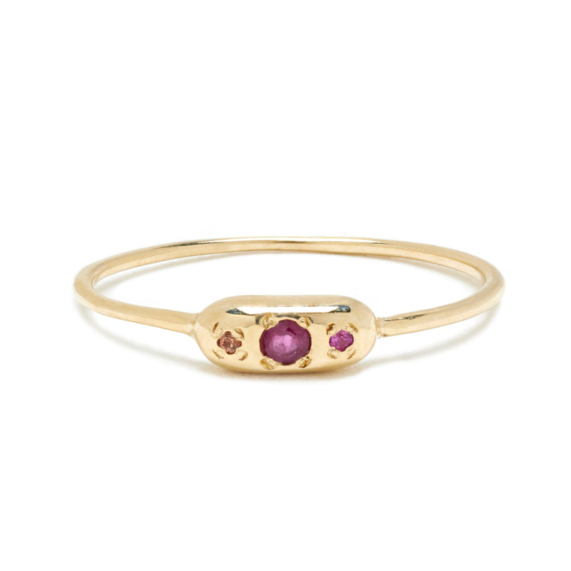 Round Eye Ring in Gold with Mixed Stones