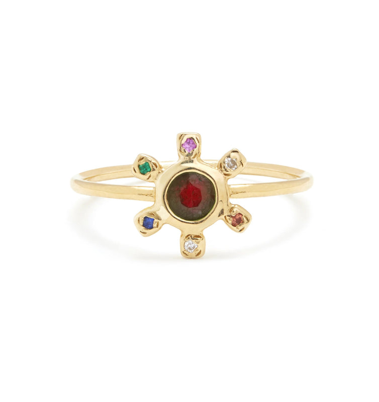 Pinwheel Ring with Garnet