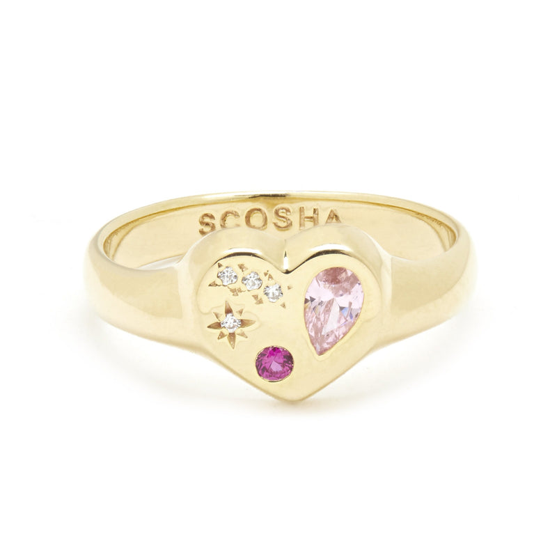 Night Market Heart Ring in Gold Vermeil