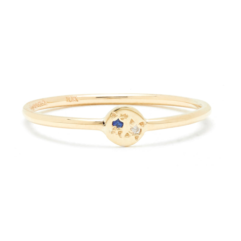 Juxtaposed Ring with Diamond and Blue Sapphire