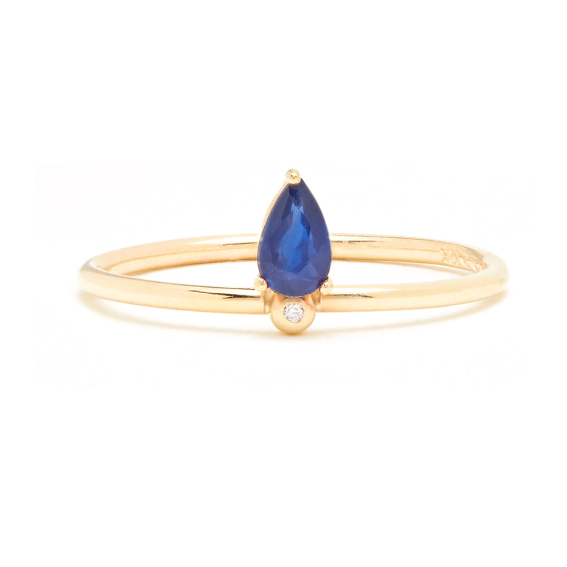 Droplet Ring with Blue Sapphire and Diamond