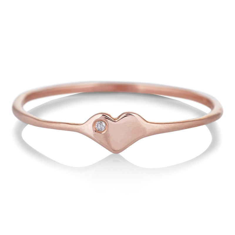 Tiny Heart Ring in Rose Gold