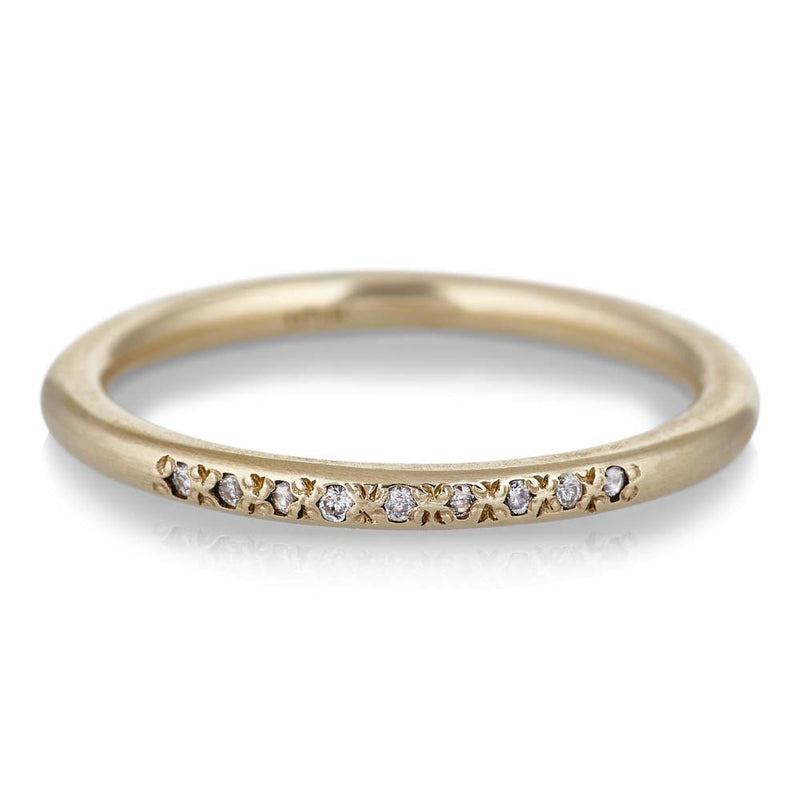 Nine Stone Stack Ring with Diamonds