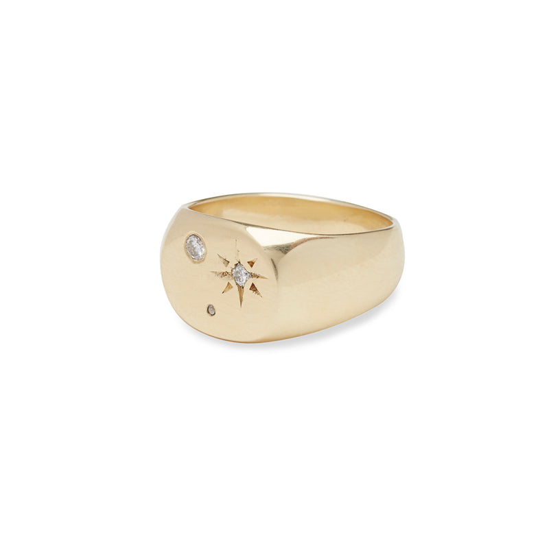 Seal Signet Ring in Gold with Diamonds